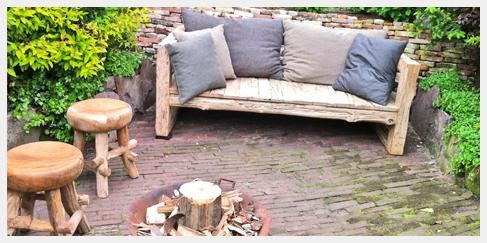 teak houten grove tuin bank en krukje
