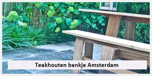 levering teakhouten bankje Amsterdam
