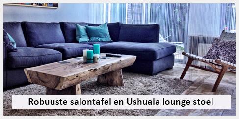 salontafel en vintage lounge stoel