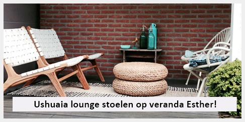 vintage lounge stoel en ibiza kleed veranda esther