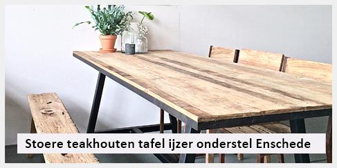 Eetkamer Tafel Teak.Stoere Teakhouten Eetkamer Tafel Met Ijzer Onderstel In Enschede