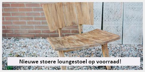 stoere teakhouten design loungestoel voor in de tuin