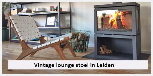 stoere lounge stoel met wit leer in Leiden