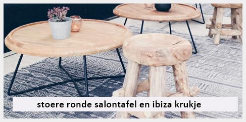 ronde ibiza salontafel en krukje