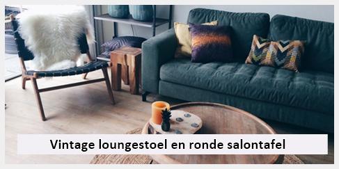 stoere design loungestoel en ronde salontafel woonkamer