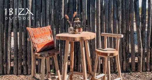 Hoge tafel en krukken teakhout - Ibiza Outdoor